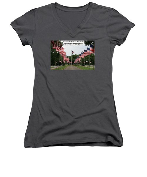 Andersonville National Park Women's V-Neck T-Shirt (Junior Cut) by Jerry Battle