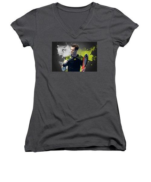 Andy Murray Women's V-Neck T-Shirt (Junior Cut) by Semih Yurdabak