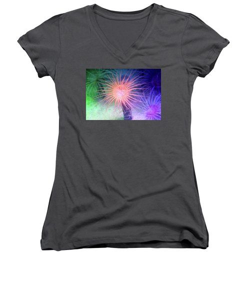 Women's V-Neck T-Shirt (Junior Cut) featuring the photograph Anemone Color by Anthony Jones