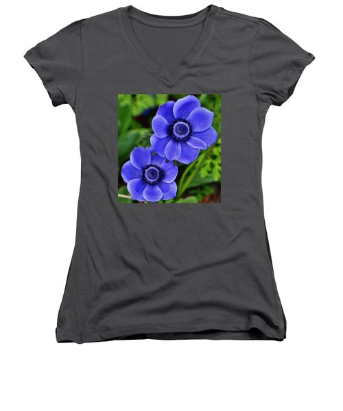 Anemone Nemorosa Women's V-Neck (Athletic Fit)