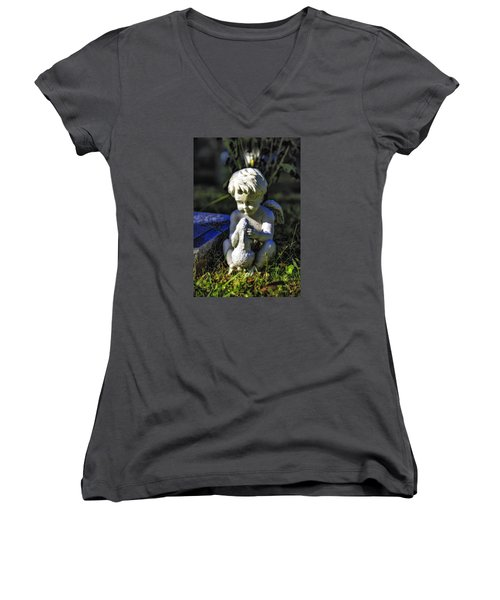 Angel 001 In Hdr Women's V-Neck T-Shirt (Junior Cut) by Michael White