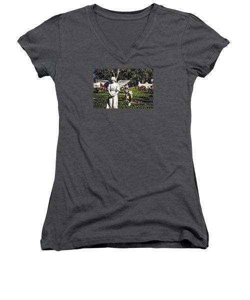 Angel 004 Women's V-Neck T-Shirt (Junior Cut) by Michael White