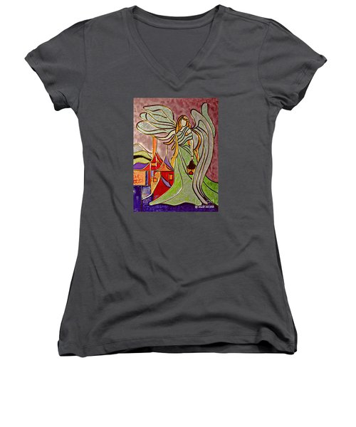 Women's V-Neck T-Shirt (Junior Cut) featuring the painting Angel  by AmaS Art