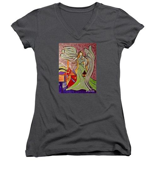 Angel  Women's V-Neck T-Shirt (Junior Cut) by AmaS Art