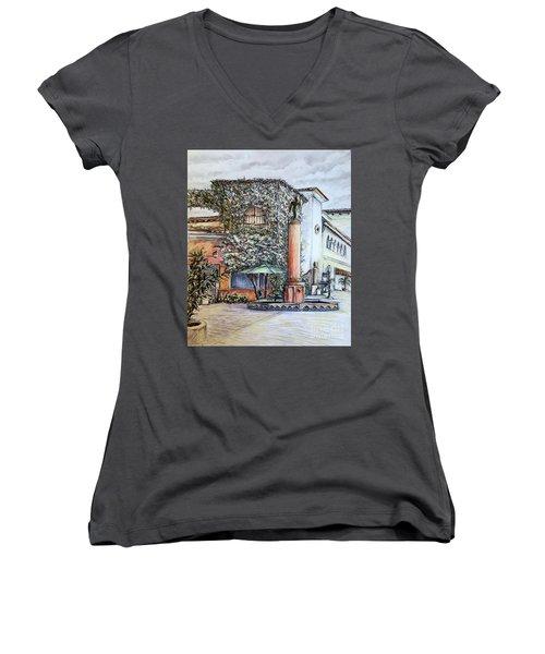 Angel At Santa Barbara Women's V-Neck T-Shirt (Junior Cut) by Danuta Bennett