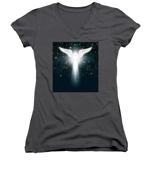 Angel In The Night Sky Women's V-Neck T-Shirt (Junior Cut) by James Larkin