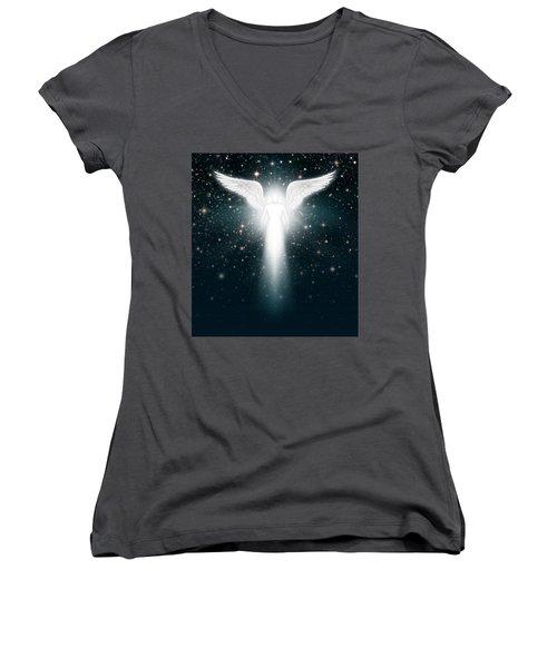 Angel In The Night Sky Women's V-Neck T-Shirt (Junior Cut)
