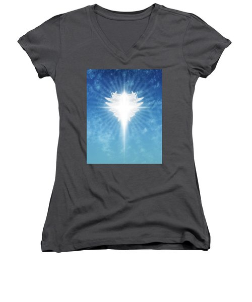 Angel In The Sky Women's V-Neck T-Shirt (Junior Cut) by James Larkin
