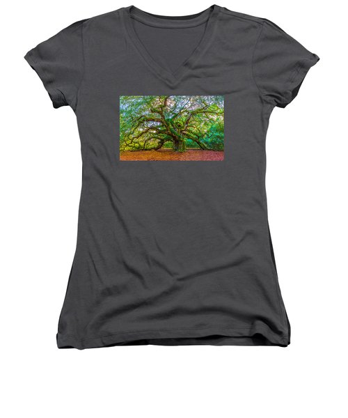 Angel Oak Tree Charleston Sc Women's V-Neck