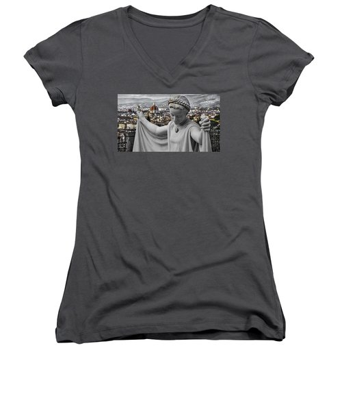 Women's V-Neck T-Shirt (Junior Cut) featuring the photograph Angel Of Florence by Sonny Marcyan