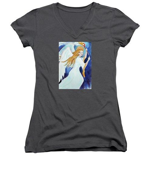 Angel Of Illumination Women's V-Neck T-Shirt (Junior Cut)