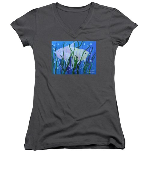 Angelfish Duo Women's V-Neck (Athletic Fit)