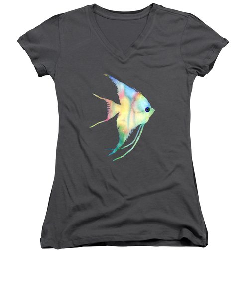 Women's V-Neck T-Shirt (Junior Cut) featuring the painting Angelfish I - Solid Background by Hailey E Herrera