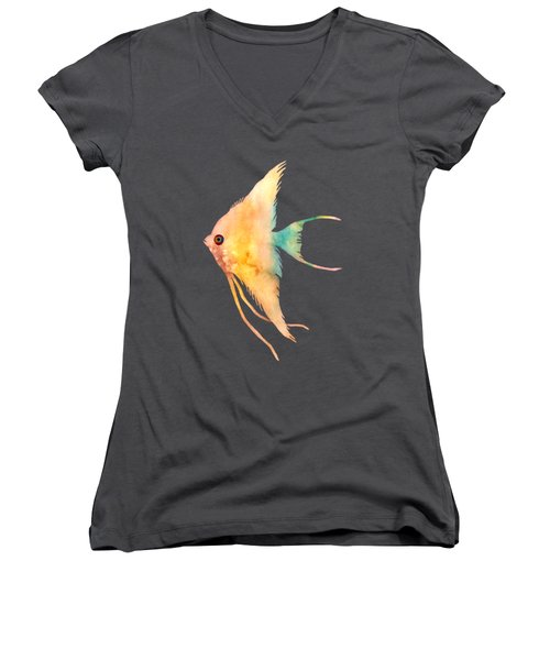 Women's V-Neck T-Shirt (Junior Cut) featuring the painting Angelfish II - Solid Background by Hailey E Herrera