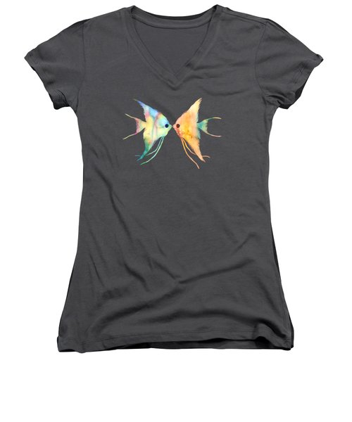 Women's V-Neck T-Shirt (Junior Cut) featuring the painting Angelfish Kissing by Hailey E Herrera