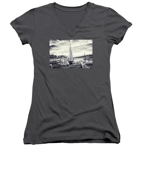 Angelique Resting At Home Women's V-Neck T-Shirt (Junior Cut) by Daniel Hebard