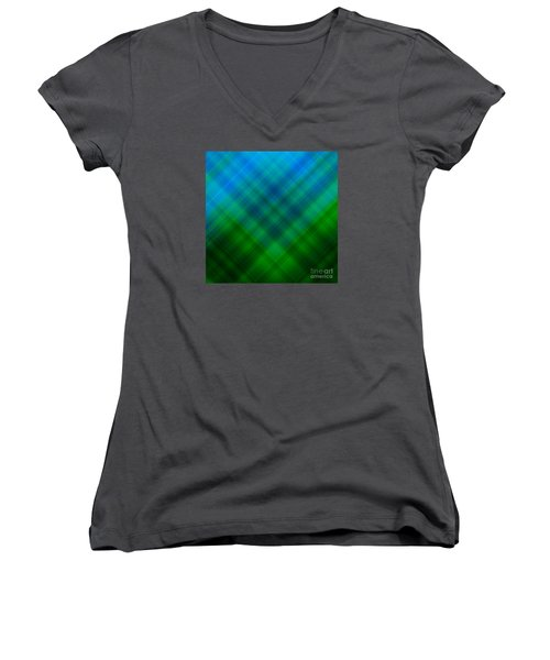 Angled Blue Green Plaid Women's V-Neck (Athletic Fit)