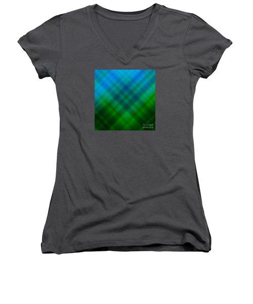 Angled Blue Green Plaid Women's V-Neck T-Shirt