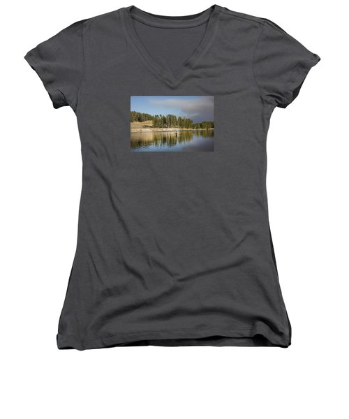 Angler Amidst Gorgeous Surroundings And A Calm River In The Yellowstone In Wyoming Women's V-Neck T-Shirt