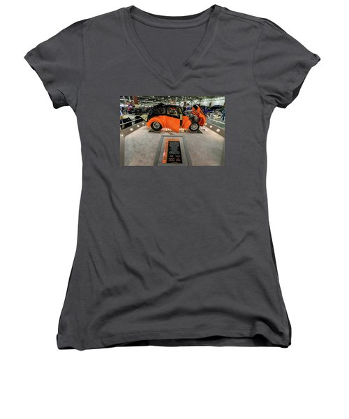Women's V-Neck T-Shirt (Junior Cut) featuring the photograph Anglia by Randy Scherkenbach