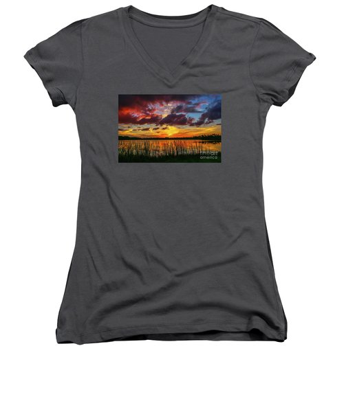 Angry Cloud Sunset Women's V-Neck T-Shirt (Junior Cut) by Tom Claud