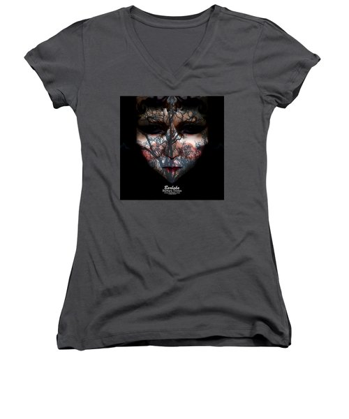 Angry Monster Child #4 Women's V-Neck T-Shirt (Junior Cut) by Barbara Tristan