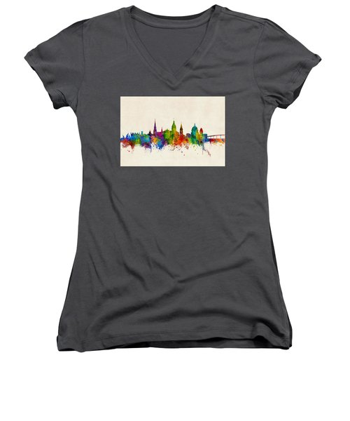 Women's V-Neck T-Shirt (Junior Cut) featuring the digital art Annapolis Maryland Skyline by Michael Tompsett