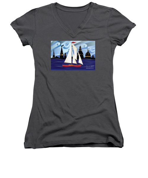 Annapolis Skyline Red Sail Boat Women's V-Neck T-Shirt