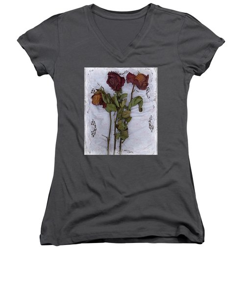Anniversary Roses Women's V-Neck T-Shirt (Junior Cut) by Alexis Rotella