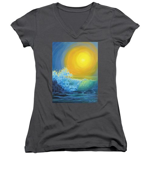 Women's V-Neck T-Shirt (Junior Cut) featuring the painting Another Sun by Karen Ilari