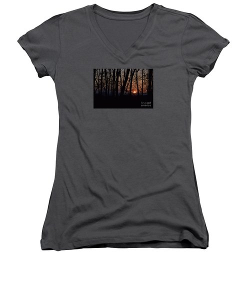 Women's V-Neck T-Shirt (Junior Cut) featuring the photograph Another Sunrise In The Woods by Mark McReynolds
