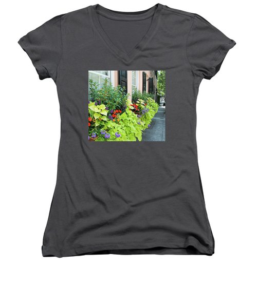 Anson St. Women's V-Neck T-Shirt (Junior Cut) by Ed Waldrop