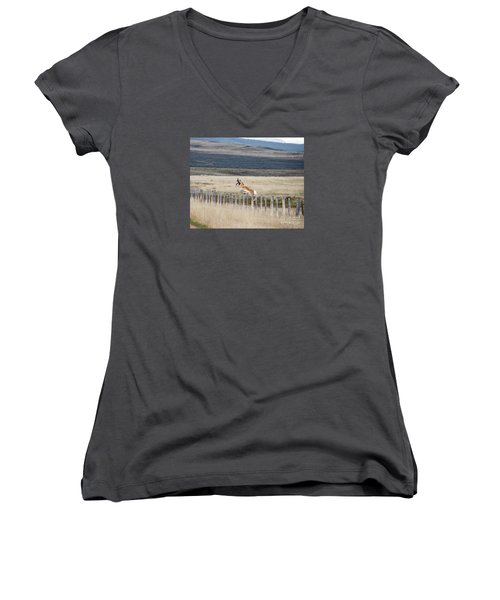 Women's V-Neck T-Shirt (Junior Cut) featuring the photograph Antelope Jumping Fence 1 by Rebecca Margraf