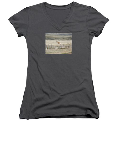 Women's V-Neck T-Shirt (Junior Cut) featuring the photograph Antelope Jumping Fence 2 by Rebecca Margraf