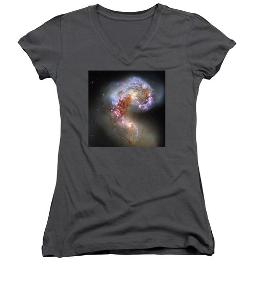 Women's V-Neck T-Shirt (Junior Cut) featuring the photograph Antennae Galaxies Reloaded by Nasa
