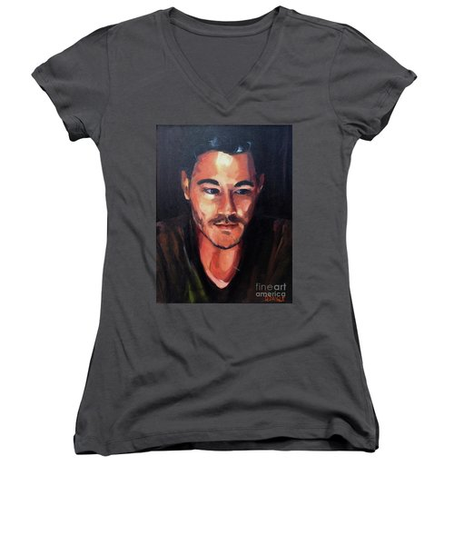 Women's V-Neck T-Shirt (Junior Cut) featuring the painting Anticipation by Diane Daigle