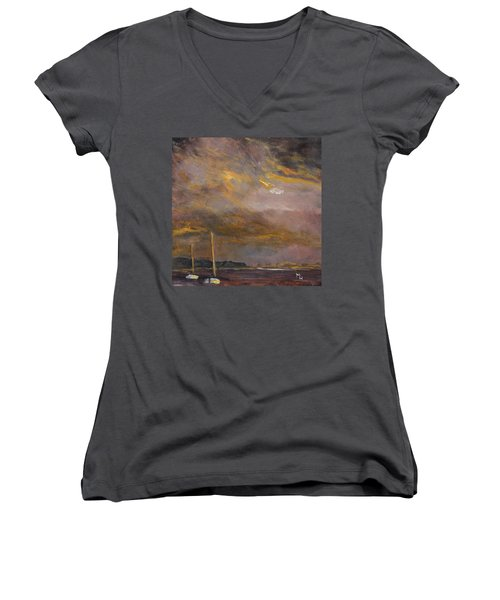 Women's V-Neck T-Shirt (Junior Cut) featuring the painting Anticipation by Michael Helfen
