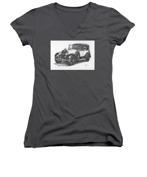 Women's V-Neck T-Shirt (Junior Cut) featuring the drawing Antique Car -pencil Study by Doug Kreuger