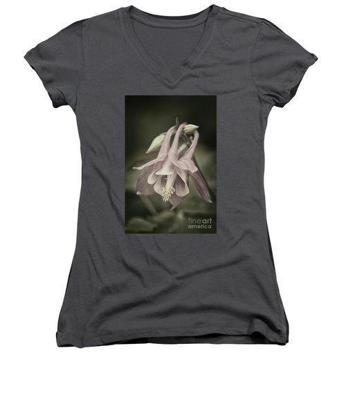 Women's V-Neck T-Shirt (Junior Cut) featuring the photograph Antique Columbine - D010096 by Daniel Dempster