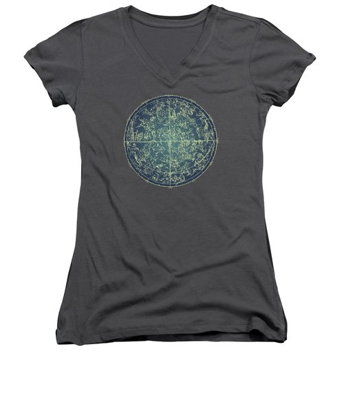 Antique Constellation Of Northern Stars 19th Century Astronomy Women's V-Neck T-Shirt