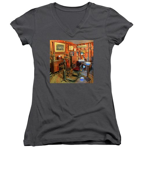 Antique Dental Office Women's V-Neck T-Shirt (Junior Cut) by Dave Mills