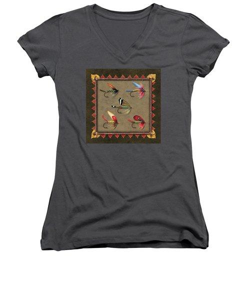 Antique Fly Panel Women's V-Neck T-Shirt (Junior Cut) by JQ Licensing