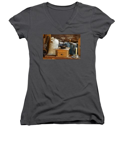 Women's V-Neck featuring the photograph Antique Grinder by Scott Read