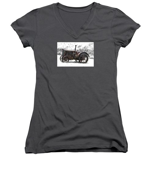 Antique Iron Horse Women's V-Neck T-Shirt (Junior Cut) by Kathy M Krause