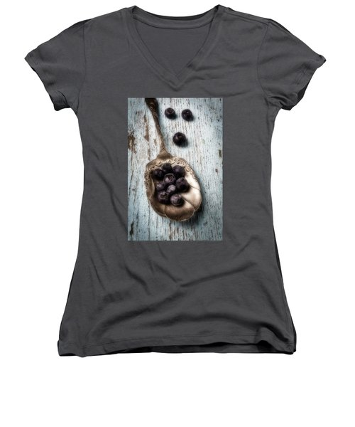 Antique Spoon And Buleberries Women's V-Neck T-Shirt (Junior Cut) by Garry Gay