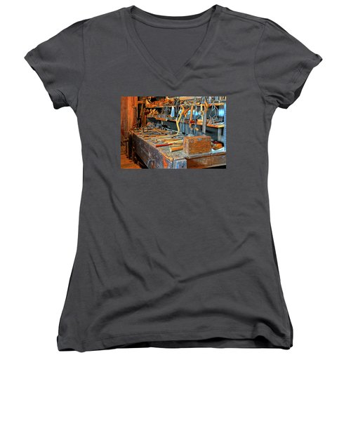 Antique Tool Bench Women's V-Neck T-Shirt (Junior Cut) by Dave Mills