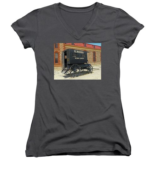 Antique U.s Marshalls Wagon Women's V-Neck T-Shirt