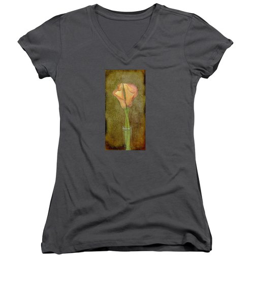 Antiqued Lilies Women's V-Neck