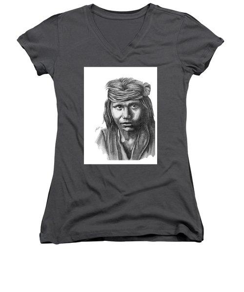 Apache Boy Women's V-Neck T-Shirt (Junior Cut) by Lawrence Tripoli