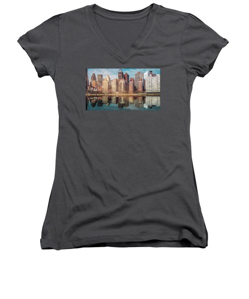 Apartment Blocks  Women's V-Neck (Athletic Fit)